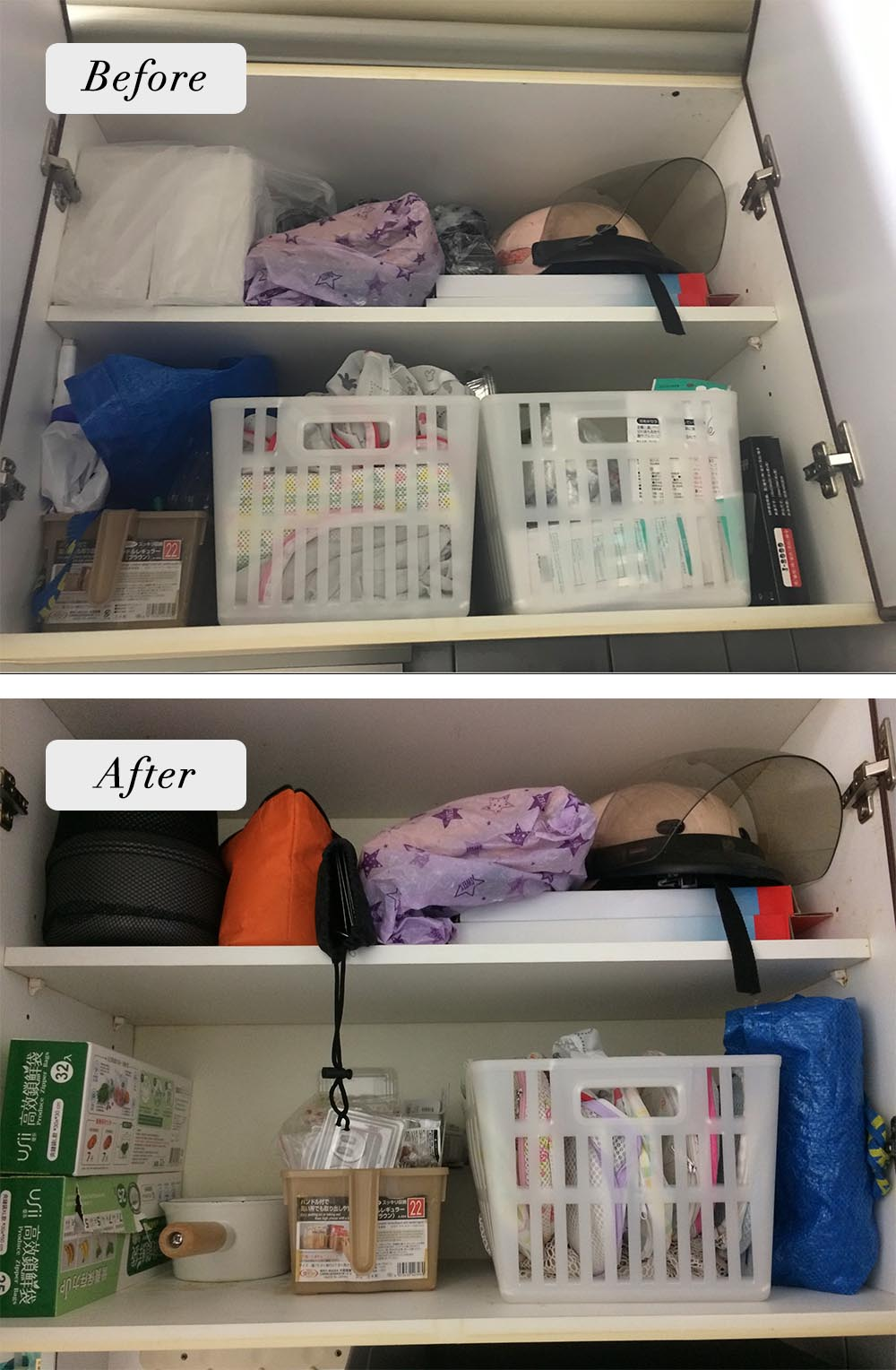 因為房子小,離流理臺比較遠的櫥櫃上方就放了較少用的物品,下層則尊重委託人本來的使用習慣,只清空了一些東西及順了一下動線。