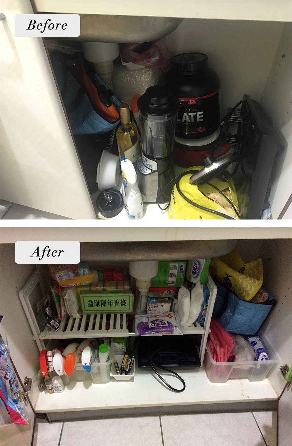 水槽下方的櫃子,本來沒有適當的分類,後來全部改放清潔用品。也好在委託人有買對層架。